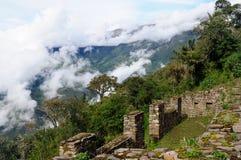 Sydamerika - Peru, Inca fördärvar av Choquequirao arkivfoto
