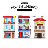 Sydamerika radhus hem- uppsättning - Arkivfoton
