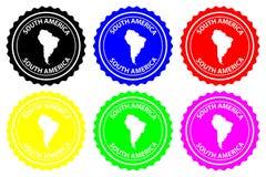 Sydamerika rubber stämpel stock illustrationer