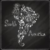 Sydamerika svart tavla royaltyfri illustrationer