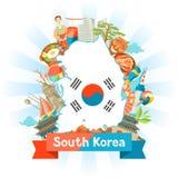 Sydkorea översiktsdesign Koreanska traditionella symboler och objekt stock illustrationer