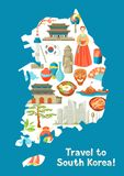 Sydkorea översiktsdesign Koreanska traditionella symboler och objekt royaltyfri illustrationer