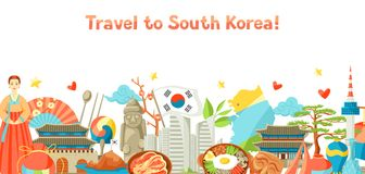 Sydkorea banerdesign Koreanska traditionella symboler och objekt royaltyfri illustrationer
