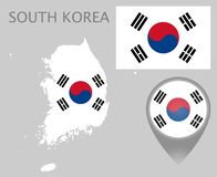 Sydkorea flagga, översikt och översiktspekare royaltyfri illustrationer