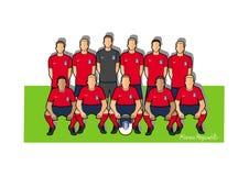 Sydkorea fotbollslag 2018 stock illustrationer
