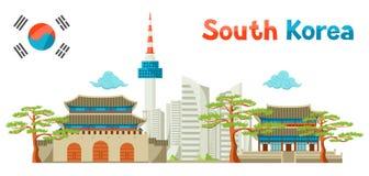 Sydkorea historisk och modern arkitekturbakgrundsdesign vektor illustrationer