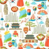 Sydkorea sömlös modell Koreanska traditionella symboler och objekt vektor illustrationer