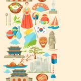 Sydkorea sömlös modell Koreanska traditionella symboler och objekt stock illustrationer