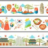 Sydkorea sömlösa gränser Koreanska traditionella symboler och objekt vektor illustrationer