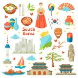 Sydkorea symbolsuppsättning Koreanska traditionella symboler och objekt stock illustrationer