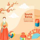 Sydkorea traditioner Koreansk banerdesign med traditionella symboler och objekt stock illustrationer