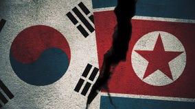 Sydkorea vs Nordkorea flaggor på den spruckna väggen vektor illustrationer