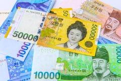 Sydkorean segrade valuta Arkivfoto