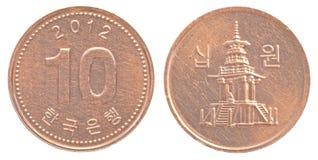 10 Sydkorean segrat mynt Arkivfoto
