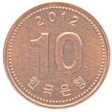 10 Sydkorean segrat mynt Royaltyfri Foto