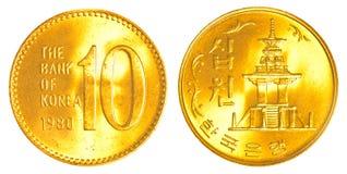 10 Sydkorean segrat mynt Royaltyfria Foton