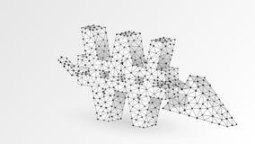Sydkoreansk segrad valuta, Downtrendpil Polygonal affärskris, krasch, datafinansbegrepp Abstrakt digitalt stock illustrationer