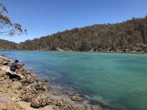 Sydkust för Pambula flod NSW royaltyfri bild