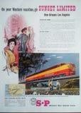Sydlig Stillahavs- järnväg annonsering för tappning Royaltyfria Bilder