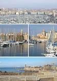 Sydliga Frankrike: gränsmärken i Marseille, gammal port, collage royaltyfria foton
