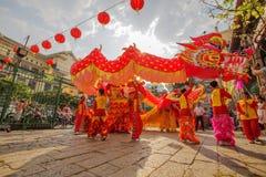 Sydliga Lion Dance på ögonöppningscermoni, pagod för dam Thien Hau, Vietnam Arkivbild