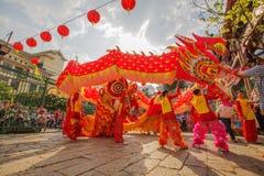 Sydliga Lion Dance på ögonöppningscermoni, pagod för dam Thien Hau, Vietnam Royaltyfri Foto