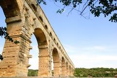 sydligt för pont för akveduktdu france gard roman Arkivfoto