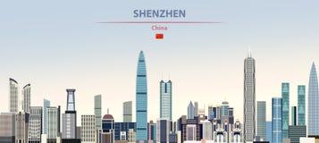Vector illustration of Shenzhen city skyline on colorful gradient beautiful daytime background royalty free illustration