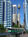 Sydney. Monorail with Centerpoint Tower in background, shot from Darling Harbour in Sydney, New South Wales, Australia royalty free stock image
