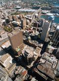 Sydney aerial view. A general view of Sydney taken from the air and showing the many tall builldings and skyscrapers that dominate this city Stock Photography