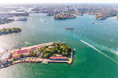 Sydney from the air. Harbour area Stock Photos