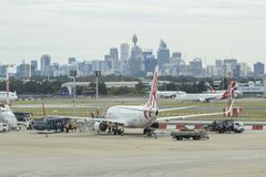 Sydney Airport and CBD Stock Photo