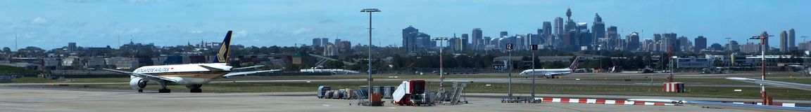 Sydney Airport Panoramic sikt Arkivbild
