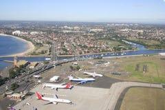 Sydney airport and surrounding suburbs, Australia stock photo