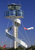 Sydney Airport Tower. Australia with two Qantas jets passing by Stock Photography