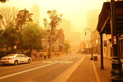 Sydney, Australië, dat in stofstorm wordt gehuld. Royalty-vrije Stock Foto