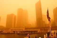 Sydney, Australië, omvat in extreme stofstorm. Stock Afbeeldingen