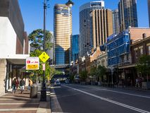 The cityscape of The Rocks is an urban locality, tourist precinct and historic area of Sydney`s city centre. royalty free stock image