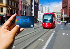 Opal card is a contactless smartcard ticketing system for public transport services in the greater Sydney area. SYDNEY, AUSTRALIA. – On December 5, 2017 royalty free stock image