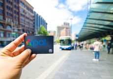 Opal card is a contactless smartcard ticketing system for public transport services in the greater Sydney area. SYDNEY, AUSTRALIA. – On December 5, 2017 royalty free stock photos