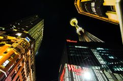 Night photography of Westfield Pitt St. Shopping Mall and centrepoint tower eye at Sydney Downtown. royalty free stock photos