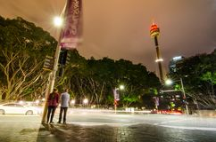 Night Street photography at Queen`s square with Sydney tower view. stock photos
