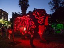 Lunar Lantern `The Sheep` is zodiac symbol of Sheep will be illuminated from dusk at Circular Quay. stock image