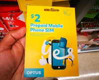 Optus sim card 2 dollar prepaid starter pack works in all phones, tablets and modems. SYDNEY, AUSTRALIA. – On February 18, 2018. - Optus sim card 2 stock photography