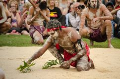 An ancient custom among Indigenous Australians `WugulOra` ceremony meaning 'One Mob'. SYDNEY, AUSTRALIA – On January 26, 2018. – An ancient custom among Royalty Free Stock Photography