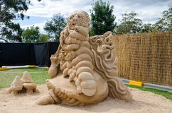 Beautiful Sand Sculpture `Caterpillar` in Wonderland exhibition, at Blacktown Showground. royalty free stock photo