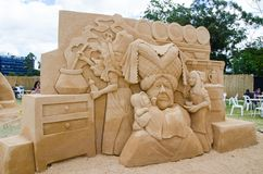 Beautiful Sand Sculpture `Pig and Pepper` in Wonderland exhibition, at Blacktown Showground. SYDNEY, AUSTRALIA – On January 14, 2018. – Beautiful stock photo