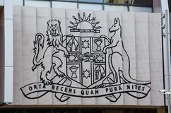 Minister for Health and Medical Research coat of arms. SYDNEY, AUSTRALIA – On January 26, 2018. – Minister for Health and Medical Research coat of royalty free stock photography