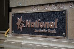National Australia bank in vintage logo on Plaque. SYDNEY, AUSTRALIA – On January 26, 2018. – National Australia bank in vintage logo on Plaque Stock Photos