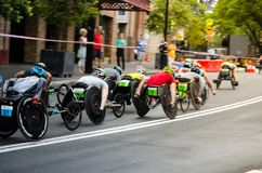 Wheelchair road racing game competition at the rocks on Australia day. SYDNEY, AUSTRALIA – On January 26, 2018. – Wheelchair road racing game stock photo